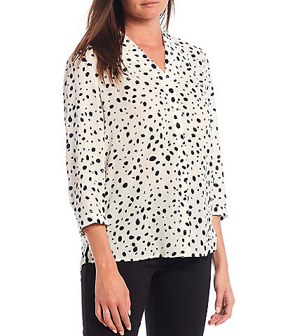 Investments Petite Size 3/4 Sleeve Animal Print Button Front Top