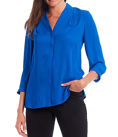 Investments Petite Size 3/4 Sleeve Button Front Top