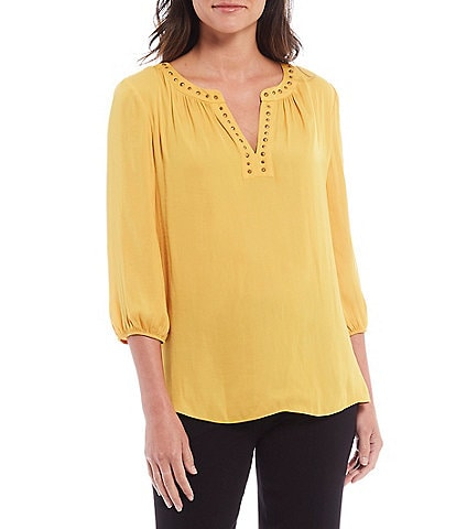 Investments Petite Size 3/4 Sleeve Embellished Split Neck Top