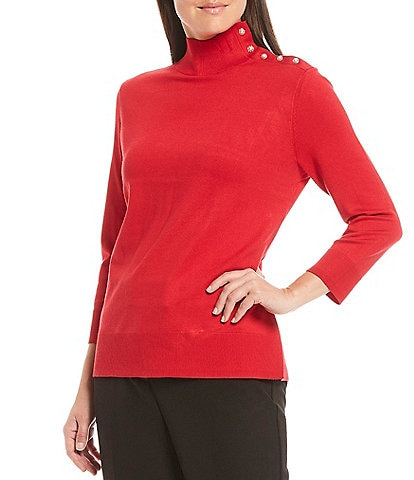 Investments Petite Size 3/4 Sleeve Mock Neck Button Detail Top