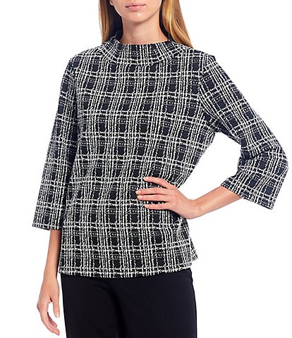 Investments Petite Size 3/4 Sleeve Plaid Mock Neck Top