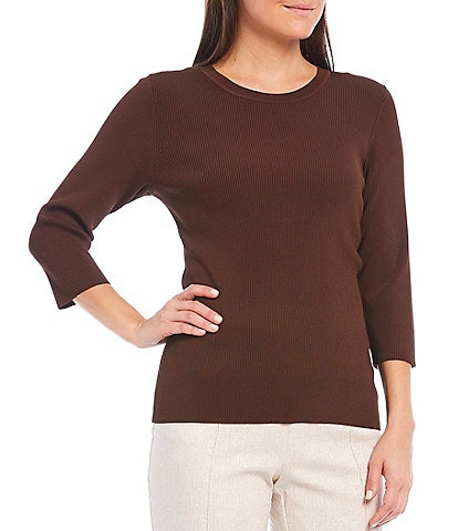 Investments Petite Size 3/4 Sleeve Ribbed Crew Neck Top