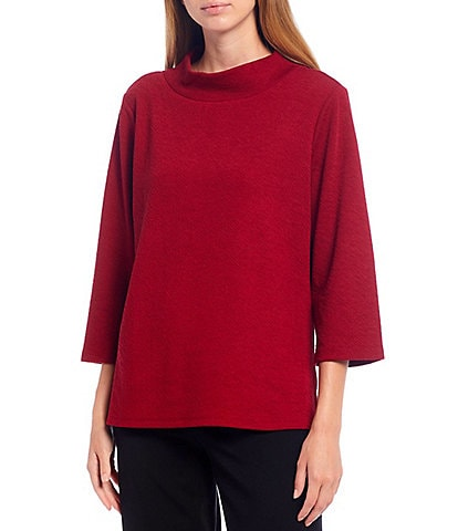 Investments Petite Size 3/4 Sleeve Solid Mock Neck Top