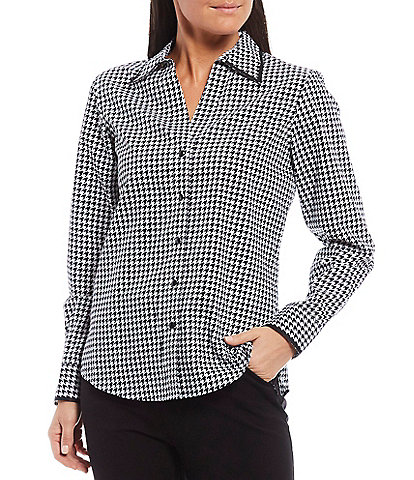 Investments Petite Size Christine Gold Label Non-Iron Cotton Long Sleeve Button Front Houndstooth Print Shirt