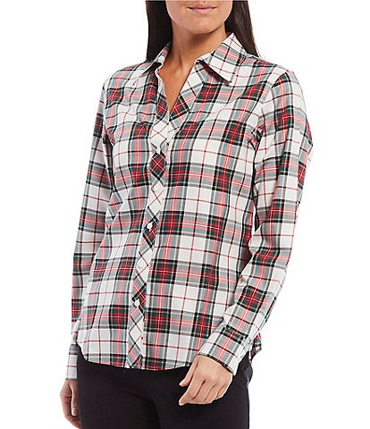 Investments Petite Size Christine Gold Label Non-Iron Cotton Long Sleeve Button Front Multi Plaid Print Shirt