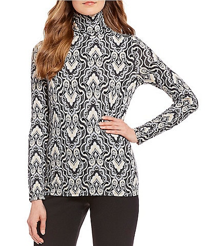 Investments Petite Size Essentials Long Sleeve Printed Turtleneck Top