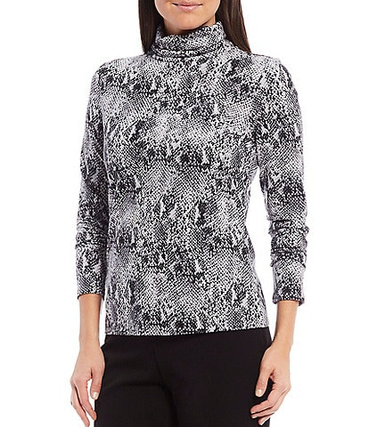 Investments Petite Size Essentials Long Sleeve Snake Print Turtleneck Top