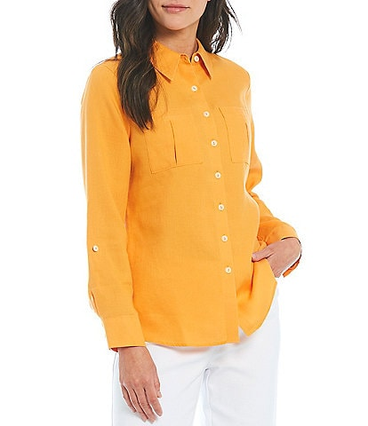 Investments Petites Gold Label Non-Iron Hemp Relaxed Shirt