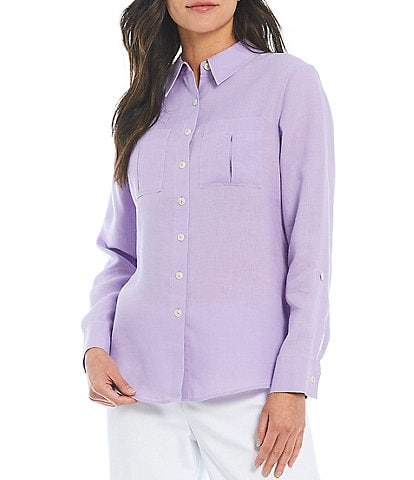 Investments Petite Size Hannah Gold Label Non-Iron Hemp Relaxed Shirt