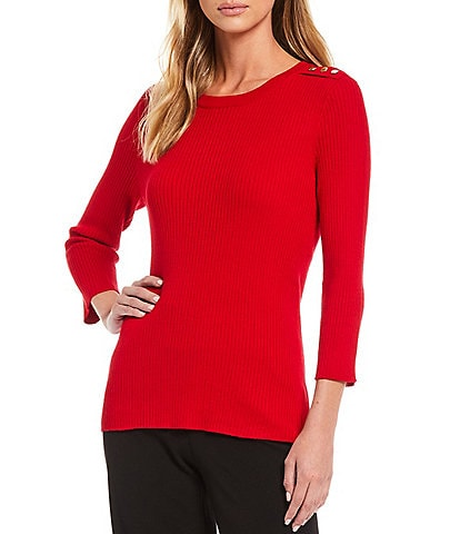 Investments Petite Size Jewel Neck 3/4 Sleeve Ribbed Sweater