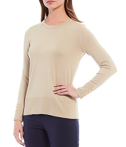Investments Petite Size Long Sleeve Button Cuff Crew Neck Sweater