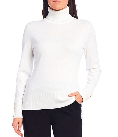 Investments Petite Size Long Sleeve Button Cuff Turtleneck Sweater