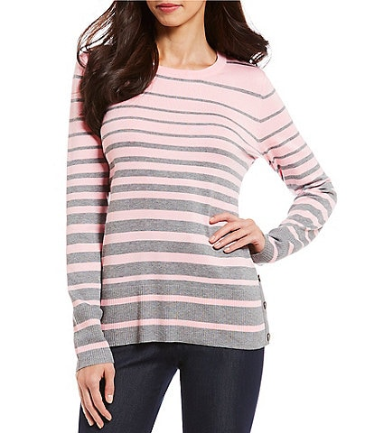 Investments Petite Size Long Sleeve Crew Neck Striped Sweater