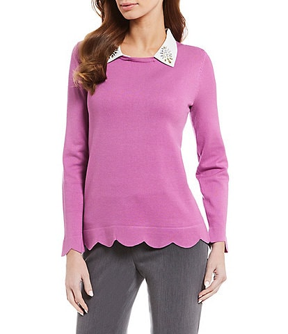 Investments Petite Size Long Sleeve Embellished Collar 2Fer Sweater