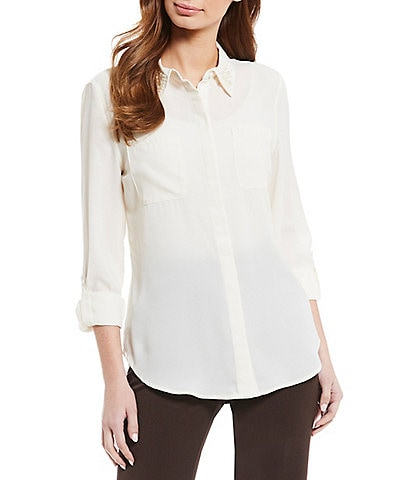 Investments Petite Size Long Sleeve Embellished Point Collar Button Front Blouse