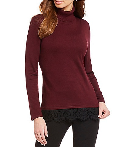 Investments Petite Size Long Sleeve Lace Hem Two-Fer Sweater
