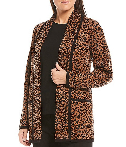 Investments Petite Size Long Sleeve Open Front Animal Print Cardigan