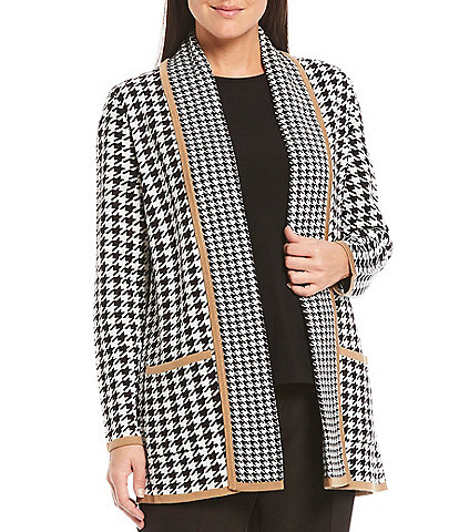 Investments Petite Size Long Sleeve Open Front Houndstooth Novelty Trim Cardigan