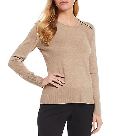 Investments Petite Size Long Sleeve Zip Shoulder Crew Neck Sweater