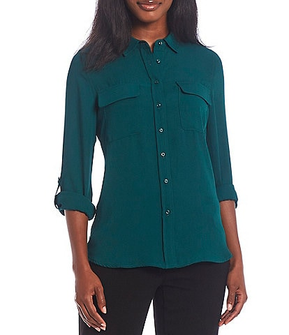 Investments Petite Size Olivia 3/4 Sleeve Roll-Tab Button Front Point Collar Utility Blouse
