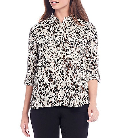 Investments Petite Size Olivia Long Roll-Tab Sleeve Button-Front Animal Print Utility Blouse