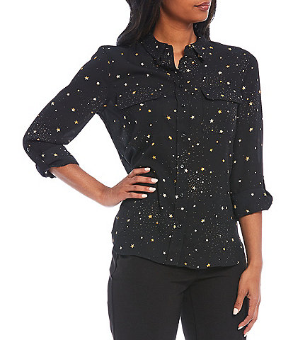 Investments Petite Size Olivia Long Roll-Tab Sleeve Button-Front Twilight Utility Blouse