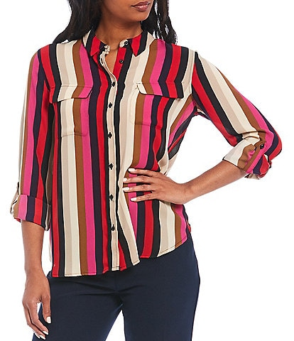 Investments Petite Size Olivia Long Roll-Tab Sleeve Button-Front Striped Utility Blouse