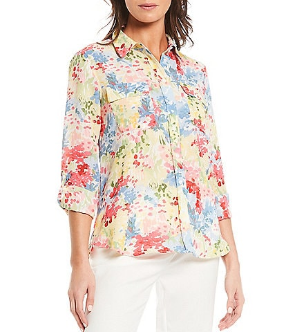 Investments Petite Size Olivia Long Sleeve Roll-Tab Button-Front Floral Print Utility Blouse