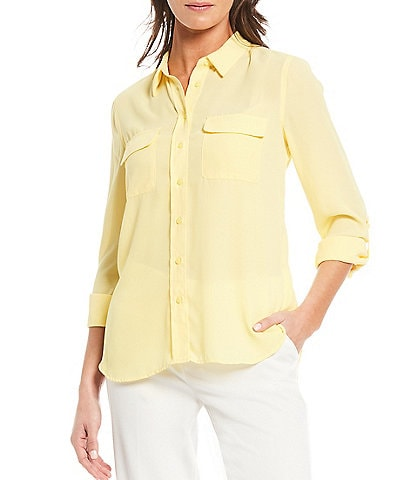 Investments Petite Size Olivia Long Sleeve Roll-Tab Button-Front Utility Blouse