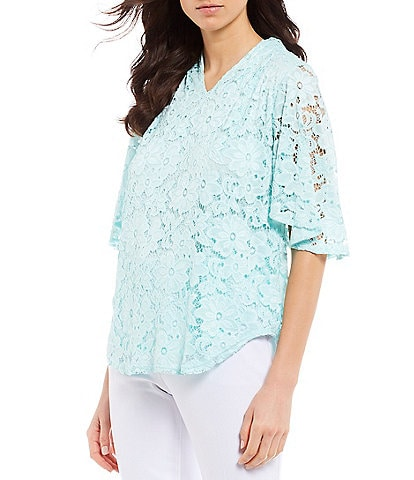 Investments Petite Size Short Flutter Sleeve V-Neck Lace Top