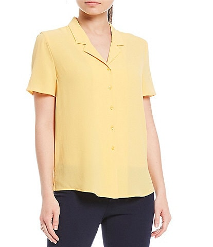 Investments Petite Size Short Sleeve Notch Collar Top