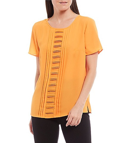 Investments Petite Size Short Sleeve Pleat Front Top