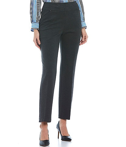 Investments Petite Size Signature High Rise Pointe Slim Leg Pull-On Pants