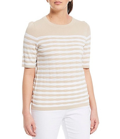 Investments Petite Size Signature Yarn Short Sleeve Crew Neck Stripe Top