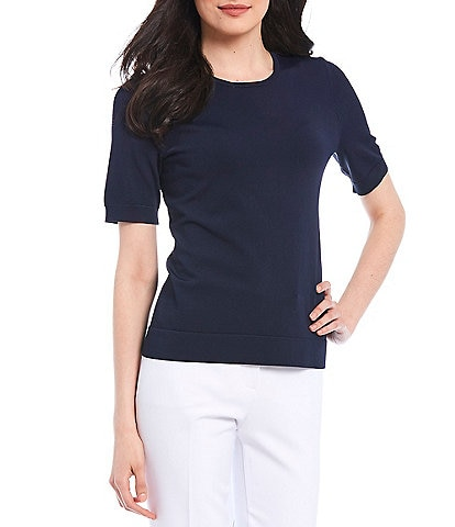 Investments Petite Size Signature Yarn Short Sleeve Crew Neck Top