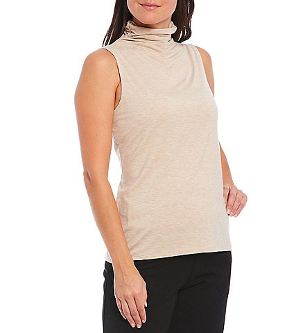 Investments Petite Size Sleeveless Mock Neck Heathered Top