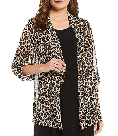 Investments Petite Size Soft Separates Long Sleeve Lush Leopard Print Open-Front Jacket