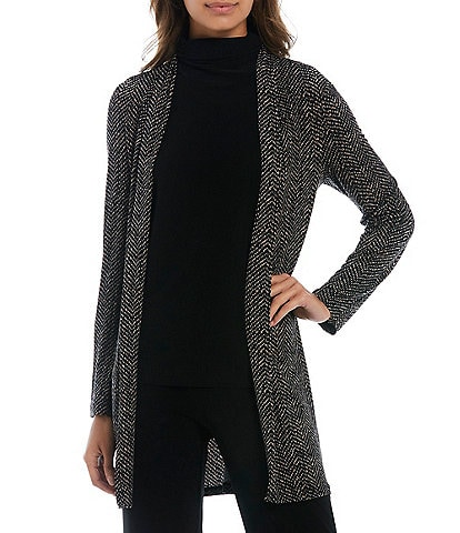 Investments Petite Size Soft Separates Long Sleeve Open Front Herringbone Cardigan