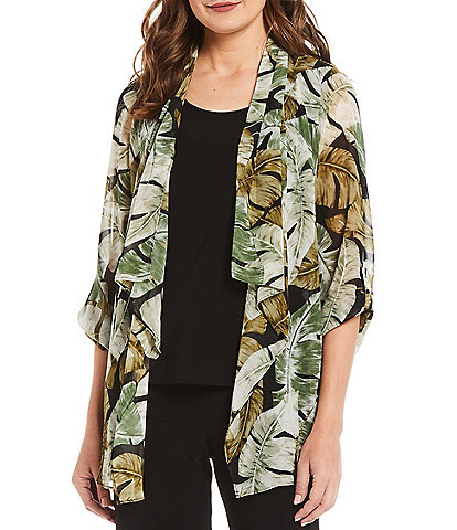 Investments Petite Size Soft Separates Long Sleeve Tropical Print Jacket