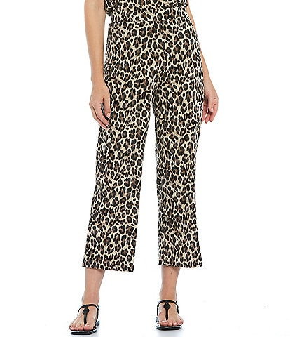 Investments Petite Size Soft Separates Pull-On Leopard Crop Pants