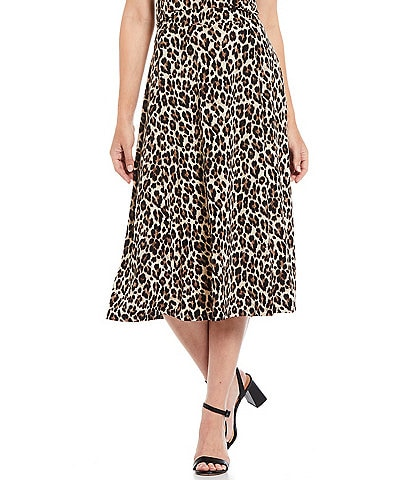 Investments Petite Size Soft Separates Pull-On Leopard Skirt