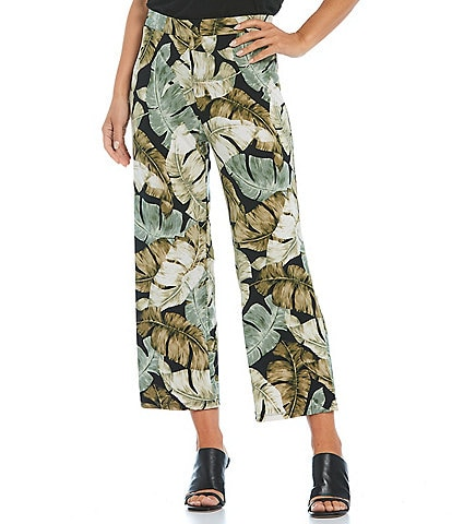 Investments Petite Size Soft Separates Pull-On Tropical Crop Pants