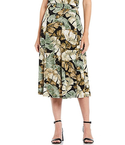 Investments Petite Size Soft Separates Pull-On Tropical Skirt