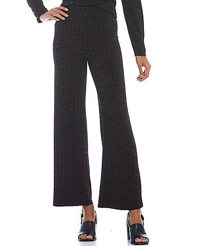 Investments Petite Size Soft Separates Straight Leg Chain Print Pull-On Pants
