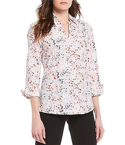 Investments Petite Size Taylor Gold Label Non-Iron 3/4 Sleeve Button Front Floral Print Shirt