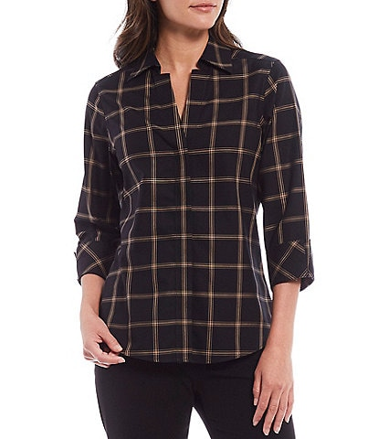 Investments Petite Size Taylor Gold Label Non-Iron 3/4 Sleeve Button Front Plaid Shirt