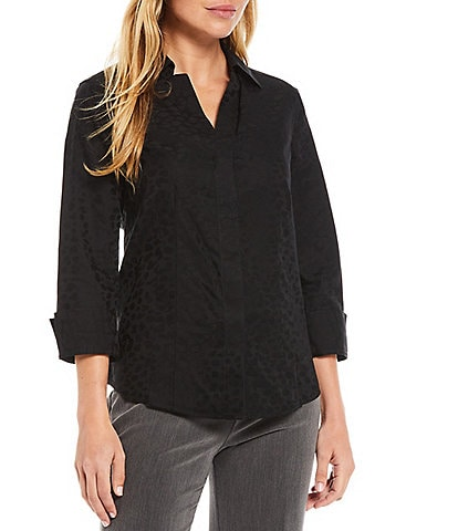 Investments Petite Size Taylor Gold Label Non-Iron Notch Point Collar 3/4 Sleeve Animal Jacquard Button Front Shirt