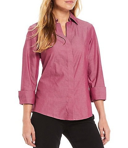 Investments Petite Size Taylor Gold Label Non-Iron Point Collar 3/4 Sleeve Button Front Shirt