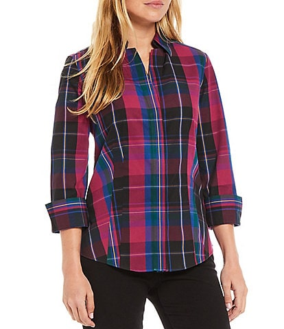 Investments Petite Size Taylor Gold Label Non-Iron Point Collar 3/4 Sleeve Plaid Print Button Front Shirt