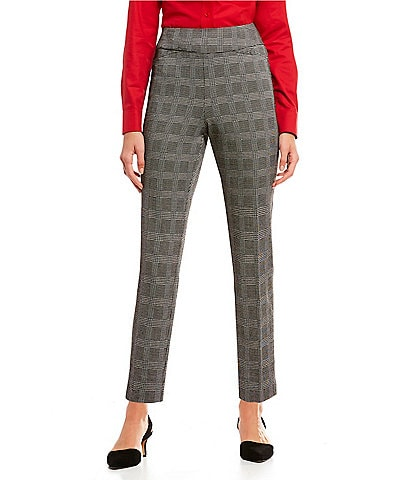 Investments Petite Size the PARK AVE fit Pull-On Plaid Ankle Pants